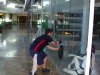 Shop front window cleaning